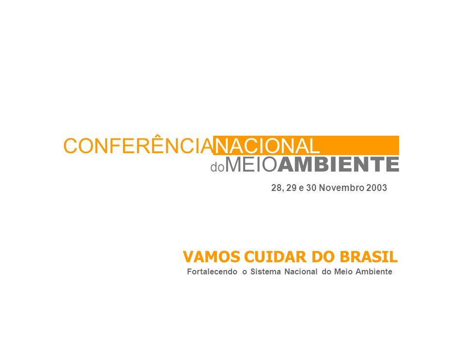 do MEIO AMBIENTE CONFERÊNCIANACIONAL 28, 29 e 30 Novembro 2003 VAMOS CUIDAR DO BRASIL Fortalecendo o Sistema Nacional do Meio Ambiente
