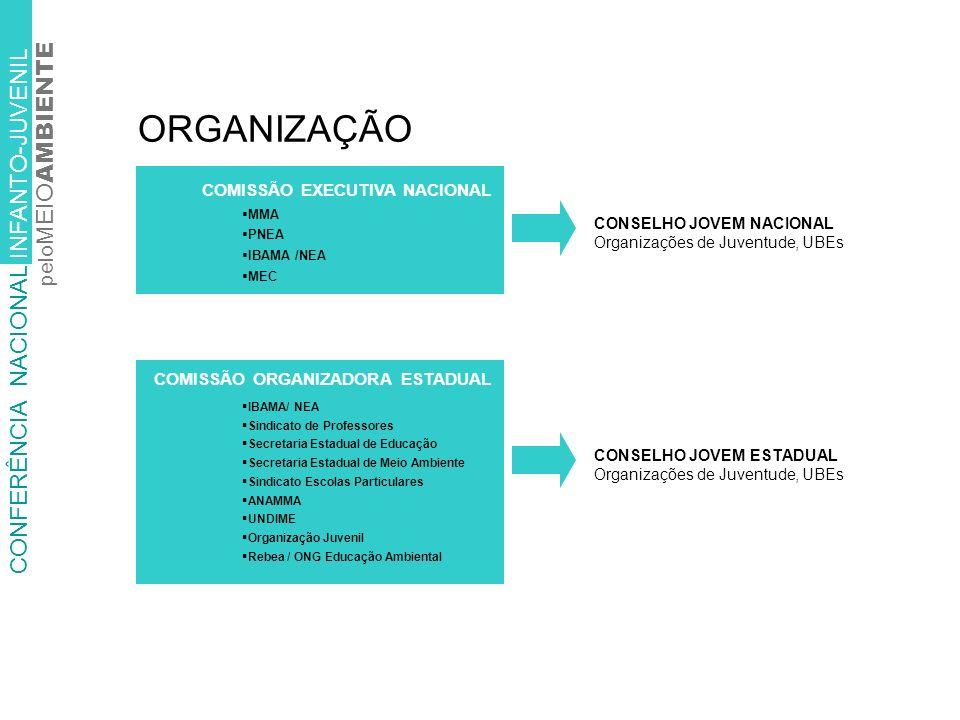 ORGANIZAÇÃO CONFERÊNCIA NACIONAL INFANTO-JUVENIL pelo MEIO AMBIENTE CONSELHO JOVEM ESTADUAL Organizações de Juventude, UBEs IBAMA/ NEA Sindicato de Professores Secretaria Estadual de Educação Secretaria Estadual de Meio Ambiente Sindicato Escolas Particulares ANAMMA UNDIME Organização Juvenil Rebea / ONG Educação Ambiental COMISSÃO ORGANIZADORA ESTADUAL MMA PNEA IBAMA /NEA MEC COMISSÃO EXECUTIVA NACIONAL CONSELHO JOVEM NACIONAL Organizações de Juventude, UBEs