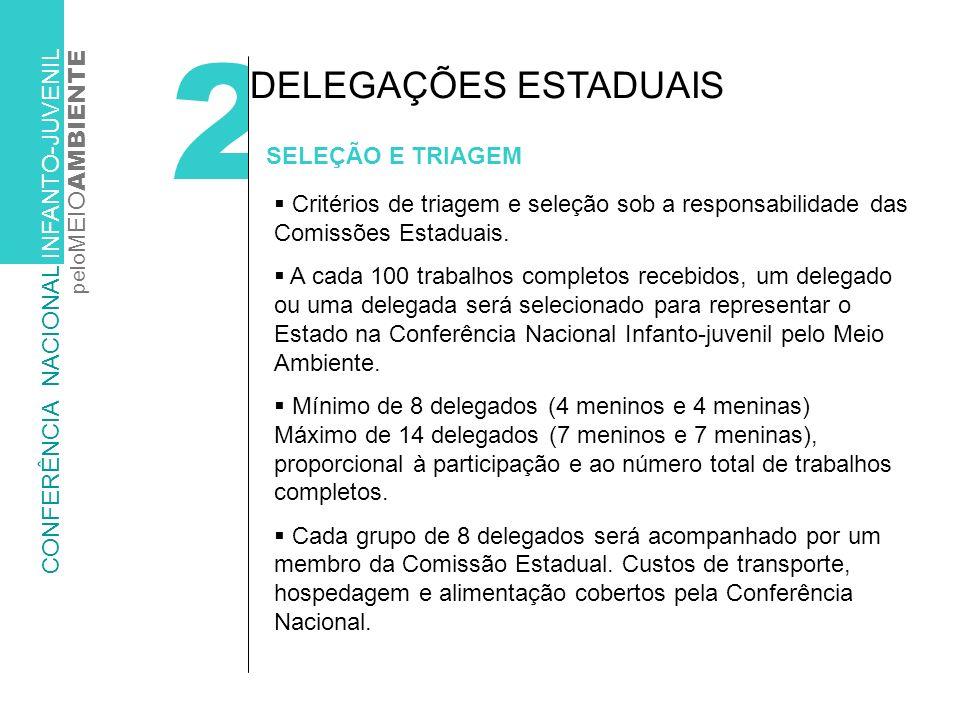 2 SELEÇÃO E TRIAGEM DELEGAÇÕES ESTADUAIS Critérios de triagem e seleção sob a responsabilidade das Comissões Estaduais.