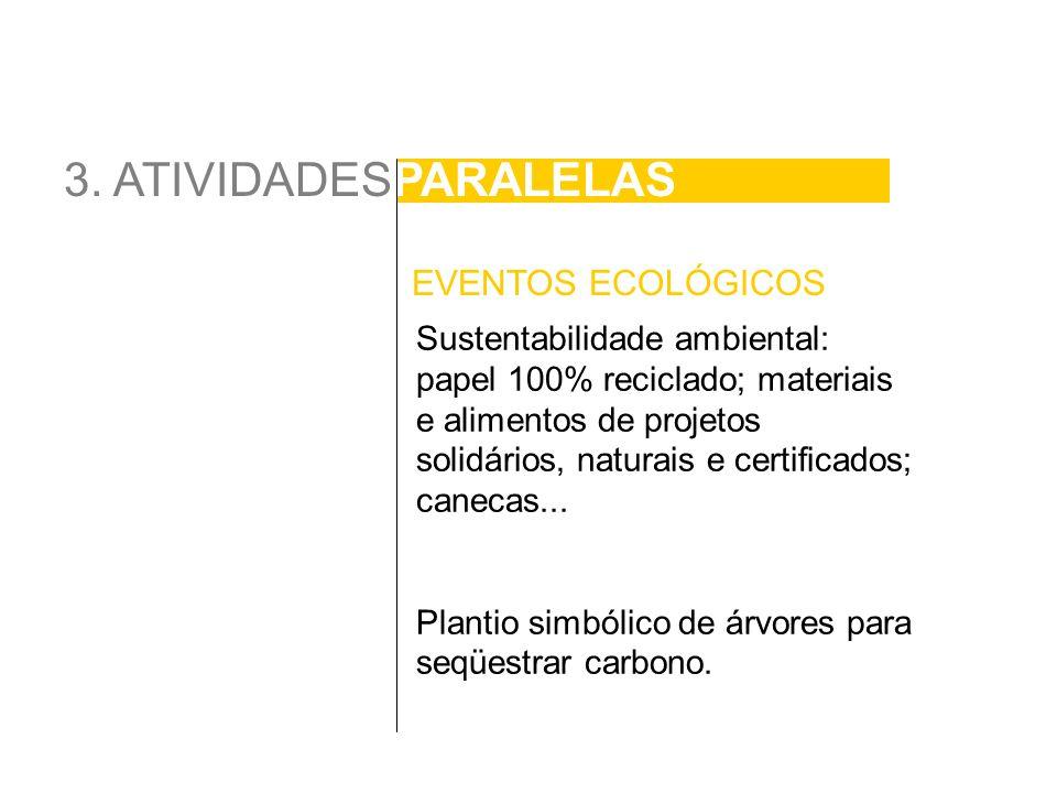 3. ATIVIDADESPARALELAS Sustentabilidade ambiental: papel 100% reciclado; materiais e alimentos de projetos solidários, naturais e certificados; caneca