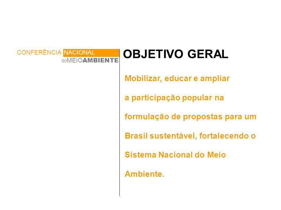 OBJETIVO GERAL Mobilizar, educar e ampliar a participação popular na formulação de propostas para um Brasil sustentável, fortalecendo o Sistema Nacional do Meio Ambiente.