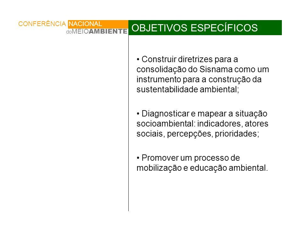 Construir diretrizes para a consolidação do Sisnama como um instrumento para a construção da sustentabilidade ambiental; Diagnosticar e mapear a situação socioambiental: indicadores, atores sociais, percepções, prioridades; Promover um processo de mobilização e educação ambiental.