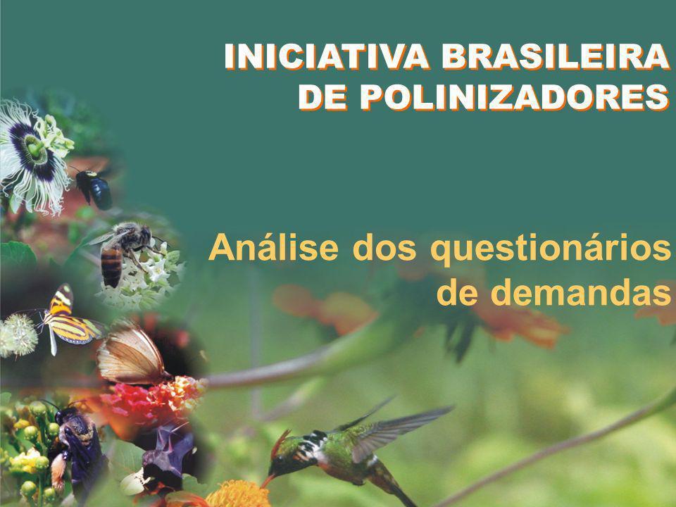 Análise dos questionários de demandas INICIATIVA BRASILEIRA DE POLINIZADORES