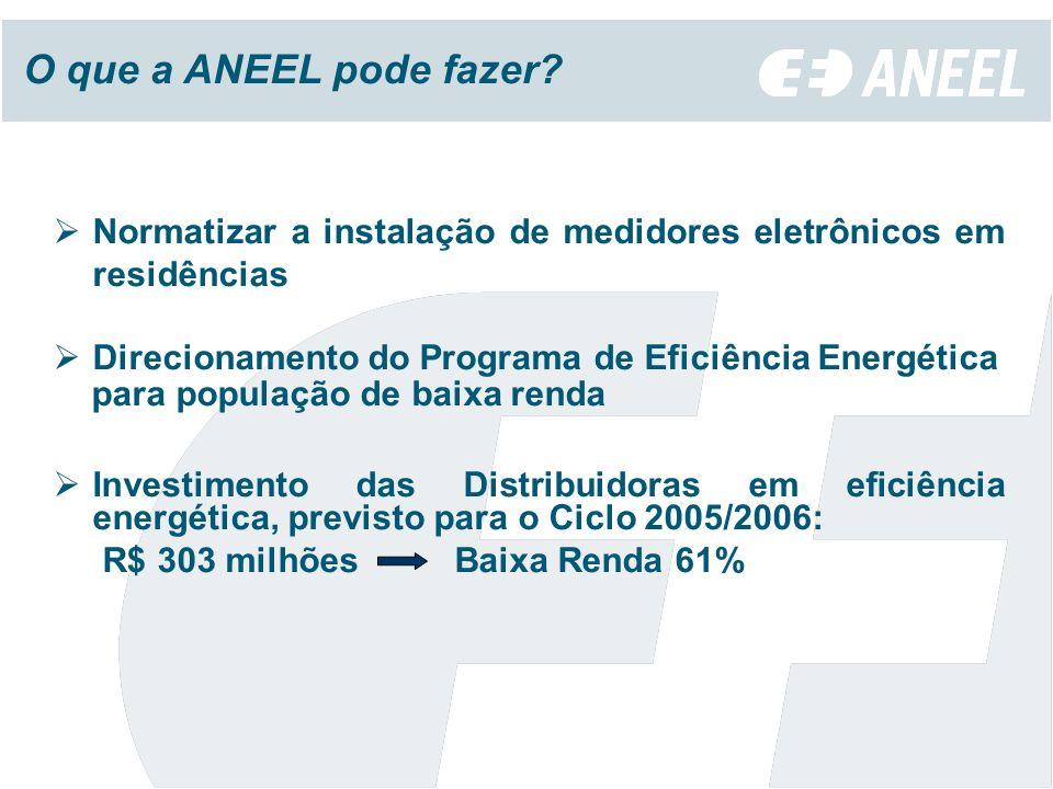 Normatizar a instalação de medidores eletrônicos em residências Direcionamento do Programa de Eficiência Energética para população de baixa renda Investimento das Distribuidoras em eficiência energética, previsto para o Ciclo 2005/2006: R$ 303 milhões Baixa Renda 61% O que a ANEEL pode fazer?