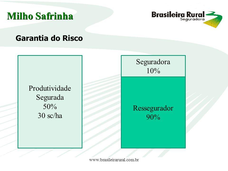 www.brasileirarural.com.br Garantia do Risco Milho Safrinha Produtividade Segurada 50% 30 sc/ha Seguradora 10% Ressegurador 90%