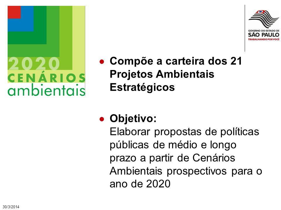 30/3/2014 Compõe a carteira dos 21 Projetos Ambientais Estratégicos Objetivo: Elaborar propostas de políticas públicas de médio e longo prazo a partir de Cenários Ambientais prospectivos para o ano de 2020