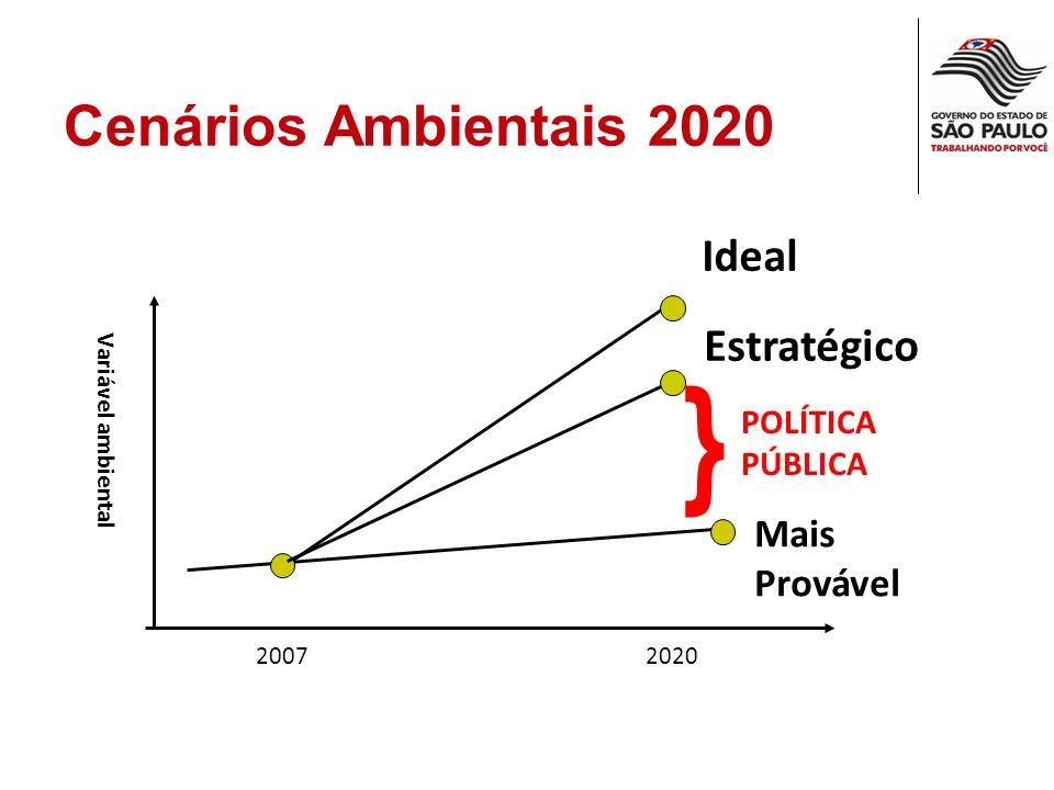 Cenários Ambientais 2020 20072020 Variável ambiental Ideal Mais Provável Estratégico } POLÍTICA PÚBLICA