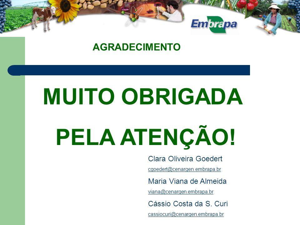 AGRADECIMENTO MUITO OBRIGADA PELA ATENÇÃO.