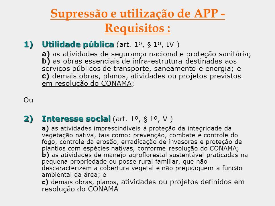 Supressão e utilização de APP - Requisitos : 1)Utilidade pública 1)Utilidade pública (art. 1º, § 1º, IV ) a) as atividades de segurança nacional e pro
