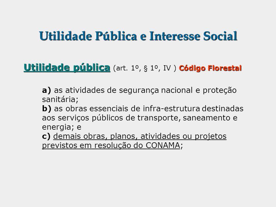 Utilidade Pública e Interesse Social Utilidade pública Código Florestal Utilidade pública (art. 1º, § 1º, IV ) Código Florestal a) as atividades de se