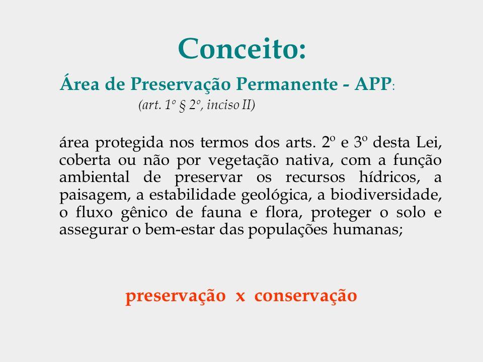 Conceito: Área de Preservação Permanente - APP : (art. 1º § 2º, inciso II) área protegida nos termos dos arts. 2º e 3º desta Lei, coberta ou não por v