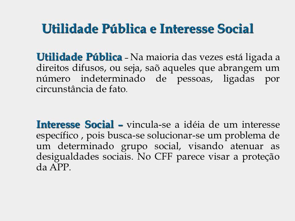 Utilidade Pública e Interesse Social Utilidade Pública Utilidade Pública – Na maioria das vezes está ligada a direitos difusos, ou seja, saõ aqueles q
