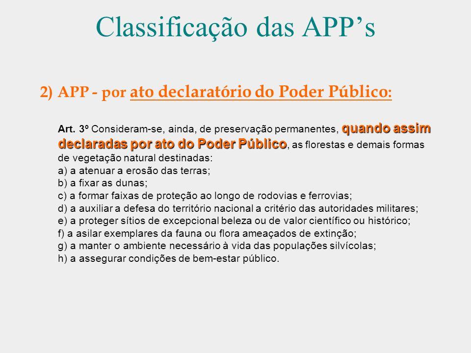 Classificação das APPs 2) APP - por ato declaratório do Poder Público : quando assim declaradas por ato do Poder Público Art. 3º Consideram-se, ainda,