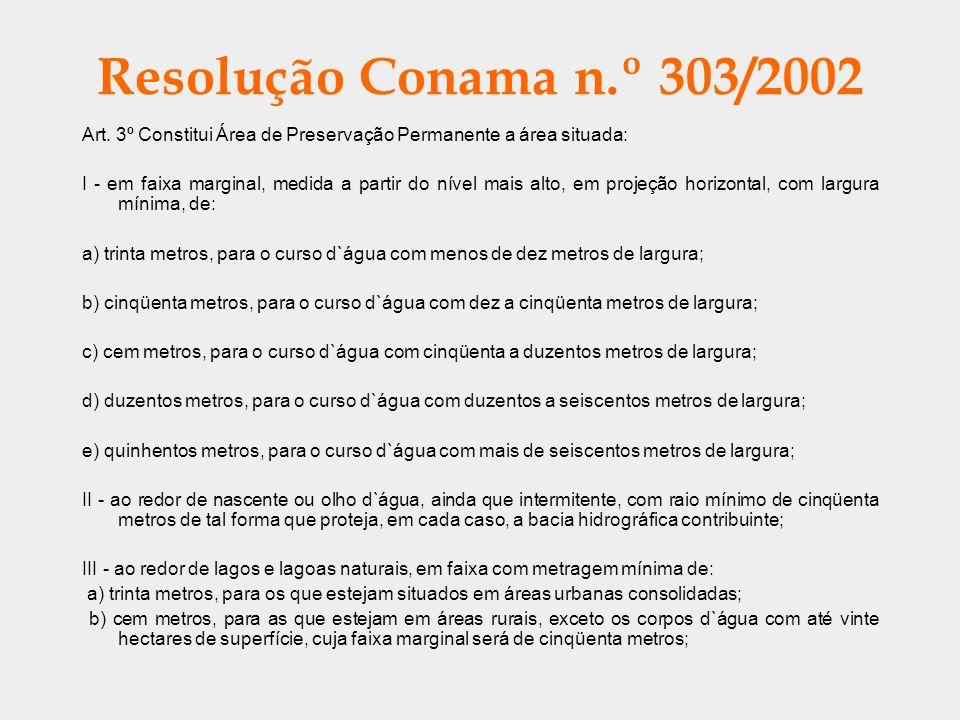 Resolução Conama n.º 303/2002 Art. 3º Constitui Área de Preservação Permanente a área situada: I - em faixa marginal, medida a partir do nível mais al