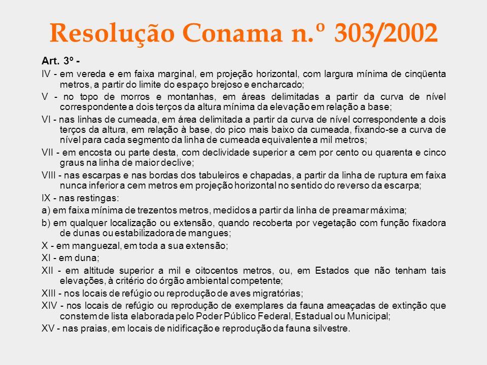 Resolução Conama n.º 303/2002 Art. 3º - IV - em vereda e em faixa marginal, em projeção horizontal, com largura mínima de cinqüenta metros, a partir d
