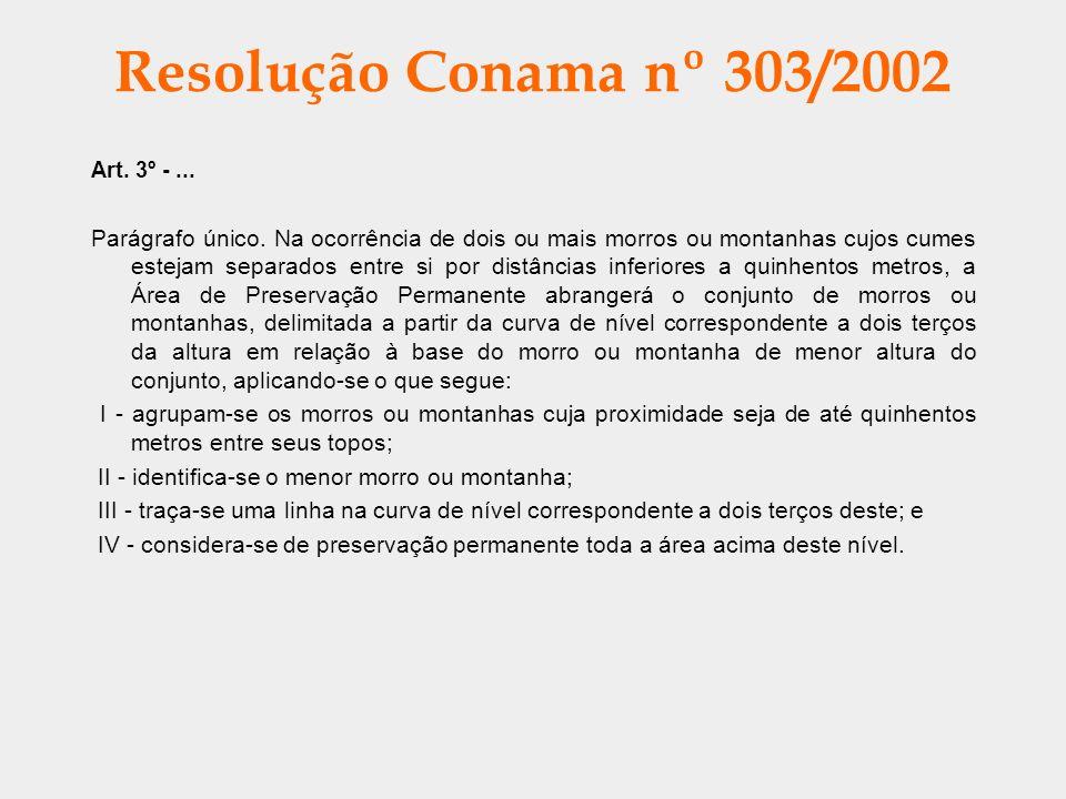 Resolução Conama nº 303/2002 Art. 3º -... Parágrafo único. Na ocorrência de dois ou mais morros ou montanhas cujos cumes estejam separados entre si po