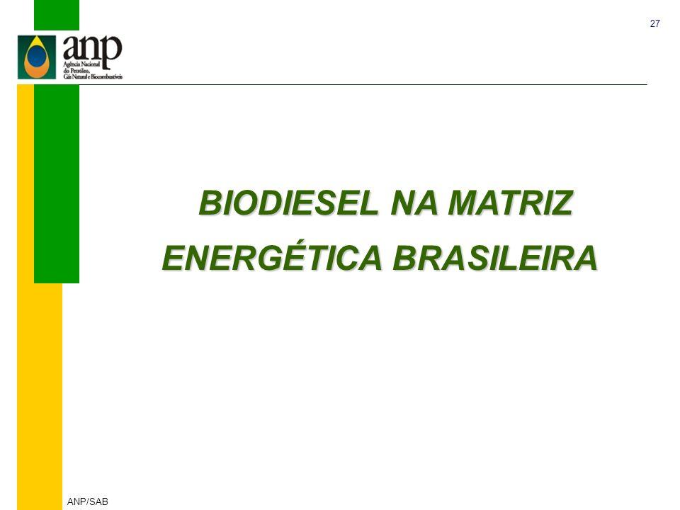 27 ANP/SAB BIODIESEL NA MATRIZ ENERGÉTICA BRASILEIRA BIODIESEL NA MATRIZ ENERGÉTICA BRASILEIRA