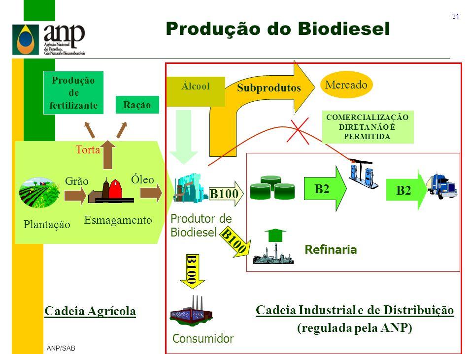31 ANP/SAB Cadeia Agrícola Plantação Esmagamento Grão Óleo Subprodutos Mercado Álcool BIODIESEL Glicerina Torta Distribuidor Revendedor Refinaria B2 P