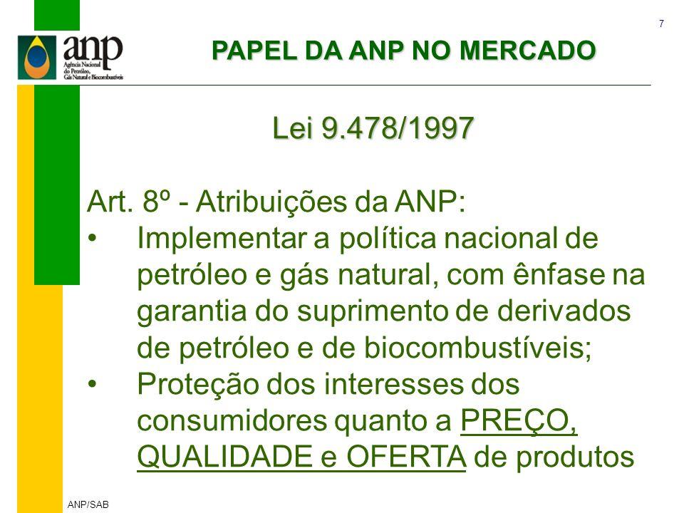 7 ANP/SAB Lei 9.478/1997 Art. 8º - Atribuições da ANP: Implementar a política nacional de petróleo e gás natural, com ênfase na garantia do suprimento