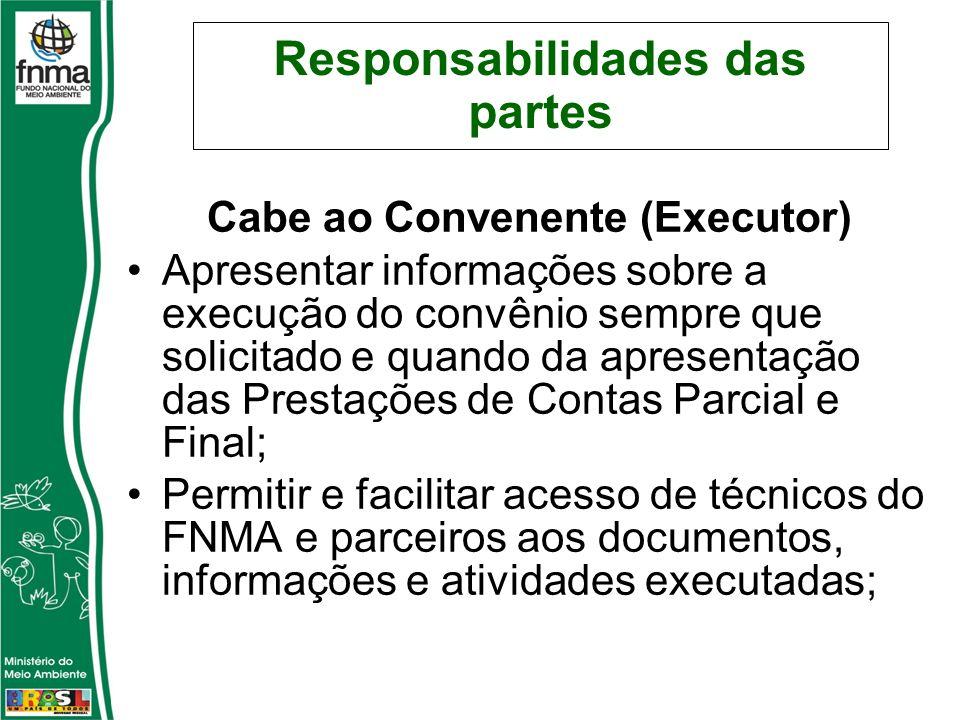 Responsabilidades das partes Cabe ao Convenente (Executor) Apresentar informações sobre a execução do convênio sempre que solicitado e quando da apres