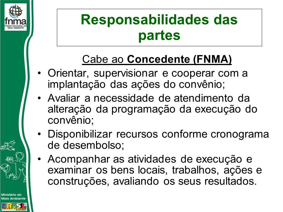 Responsabilidades das partes Cabe ao Concedente (FNMA) Orientar, supervisionar e cooperar com a implantação das ações do convênio; Avaliar a necessida