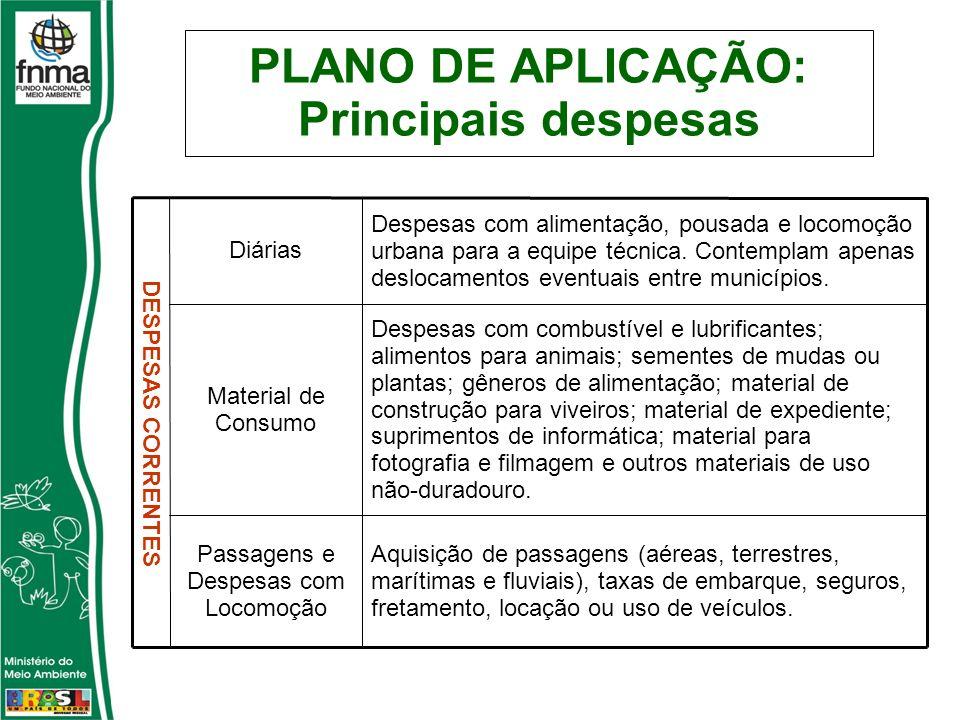 PLANO DE APLICAÇÃO: Principais despesas Aquisição de passagens (aéreas, terrestres, marítimas e fluviais), taxas de embarque, seguros, fretamento, loc