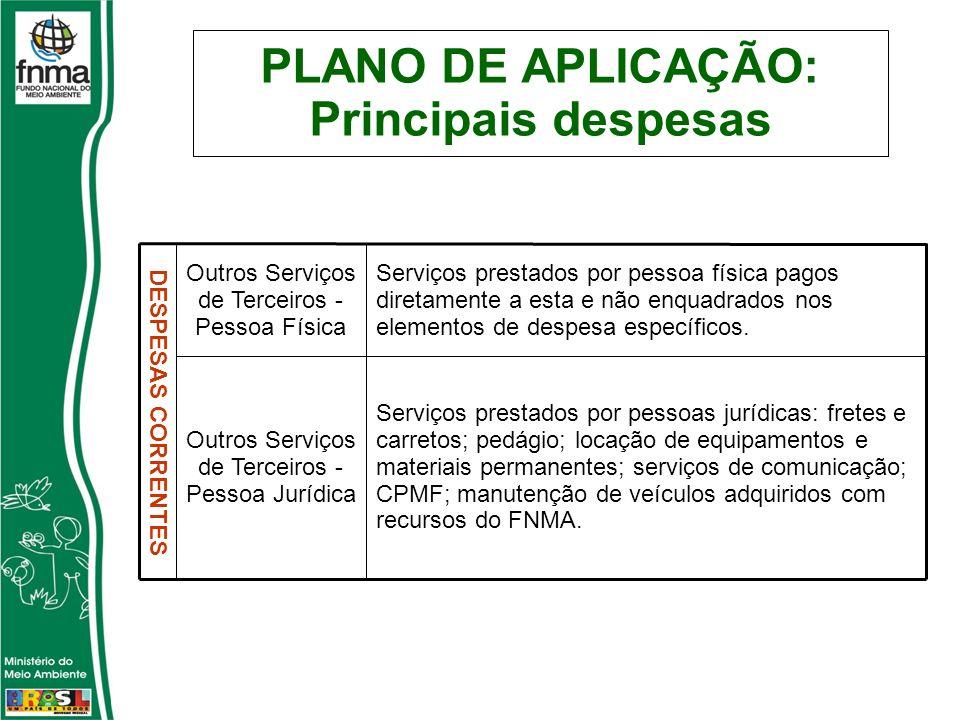 PLANO DE APLICAÇÃO: Principais despesas Serviços prestados por pessoas jurídicas: fretes e carretos; pedágio; locação de equipamentos e materiais perm