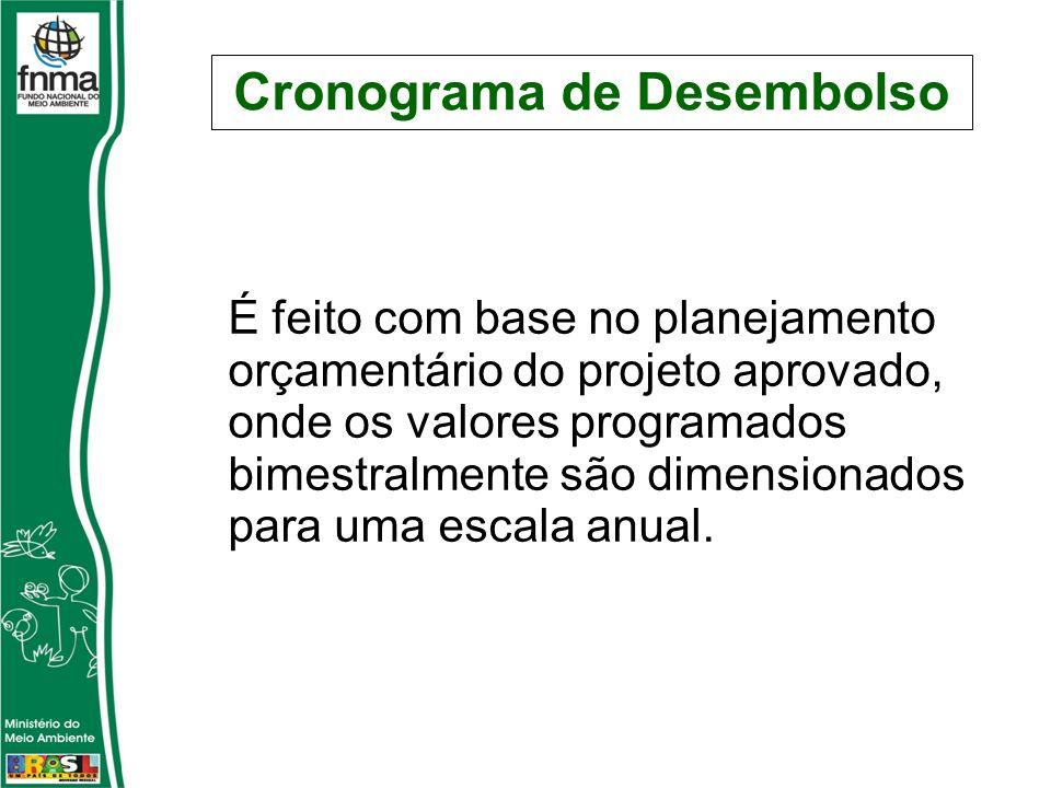 Cronograma de Desembolso É feito com base no planejamento orçamentário do projeto aprovado, onde os valores programados bimestralmente são dimensionados para uma escala anual.