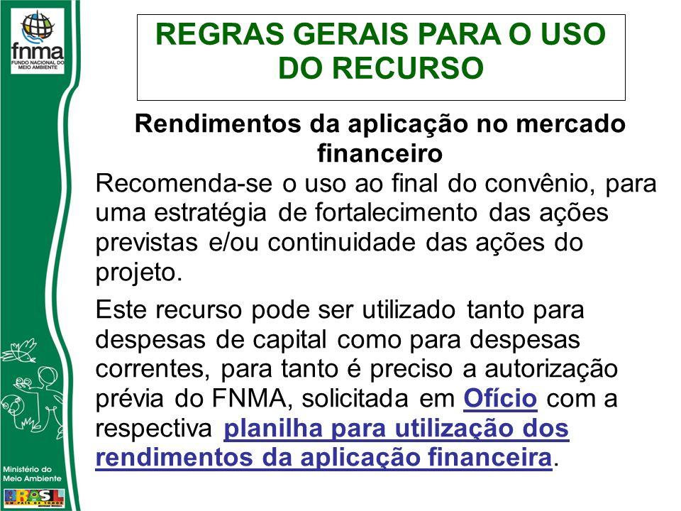 Rendimentos da aplicação no mercado financeiro Recomenda-se o uso ao final do convênio, para uma estratégia de fortalecimento das ações previstas e/ou