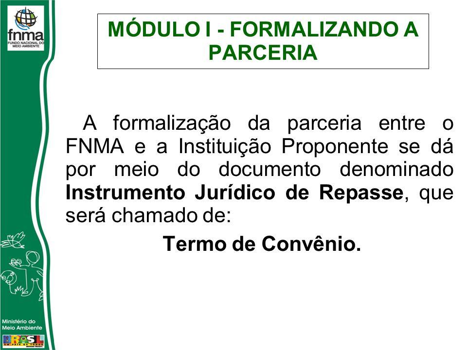 MÓDULO I - FORMALIZANDO A PARCERIA A formalização da parceria entre o FNMA e a Instituição Proponente se dá por meio do documento denominado Instrumento Jurídico de Repasse, que será chamado de: Termo de Convênio.