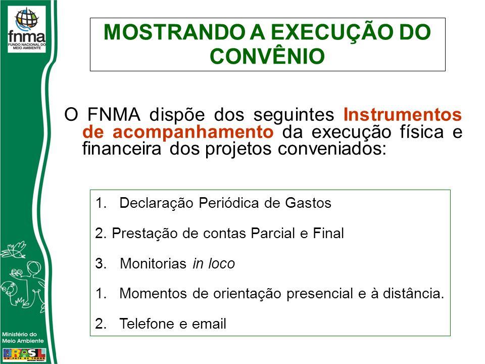 O FNMA dispõe dos seguintes Instrumentos de acompanhamento da execução física e financeira dos projetos conveniados: 1.Declaração Periódica de Gastos 2.