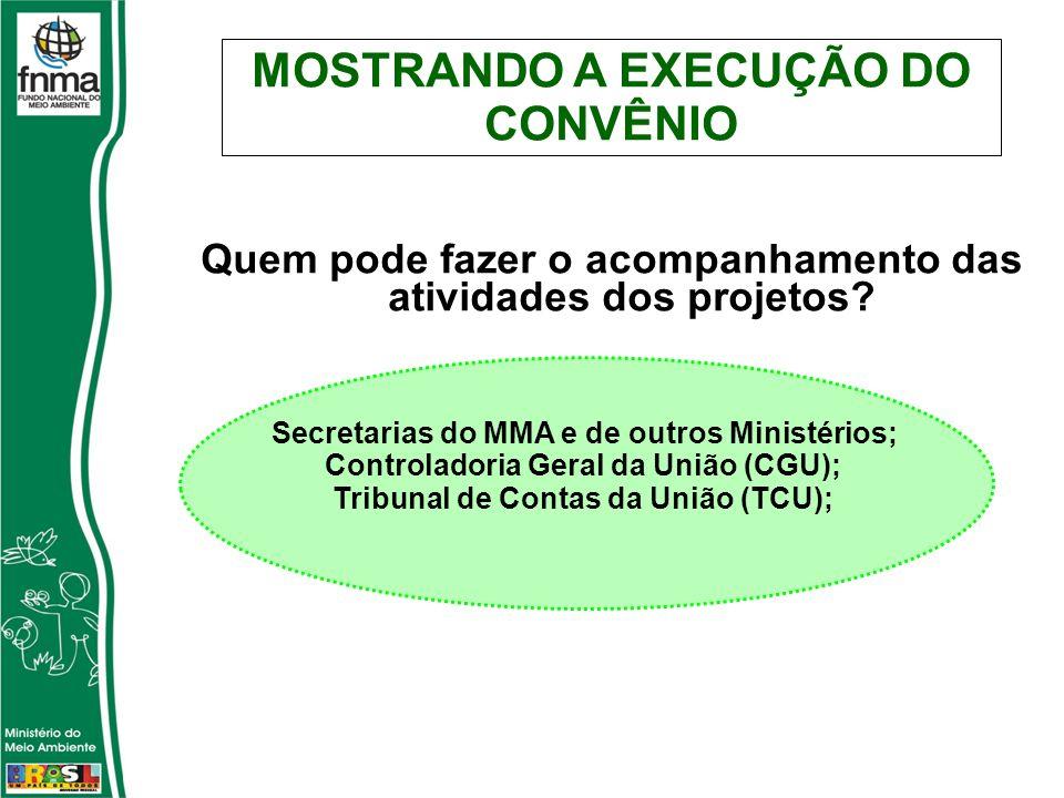 Quem pode fazer o acompanhamento das atividades dos projetos? Secretarias do MMA e de outros Ministérios; Controladoria Geral da União (CGU); Tribunal
