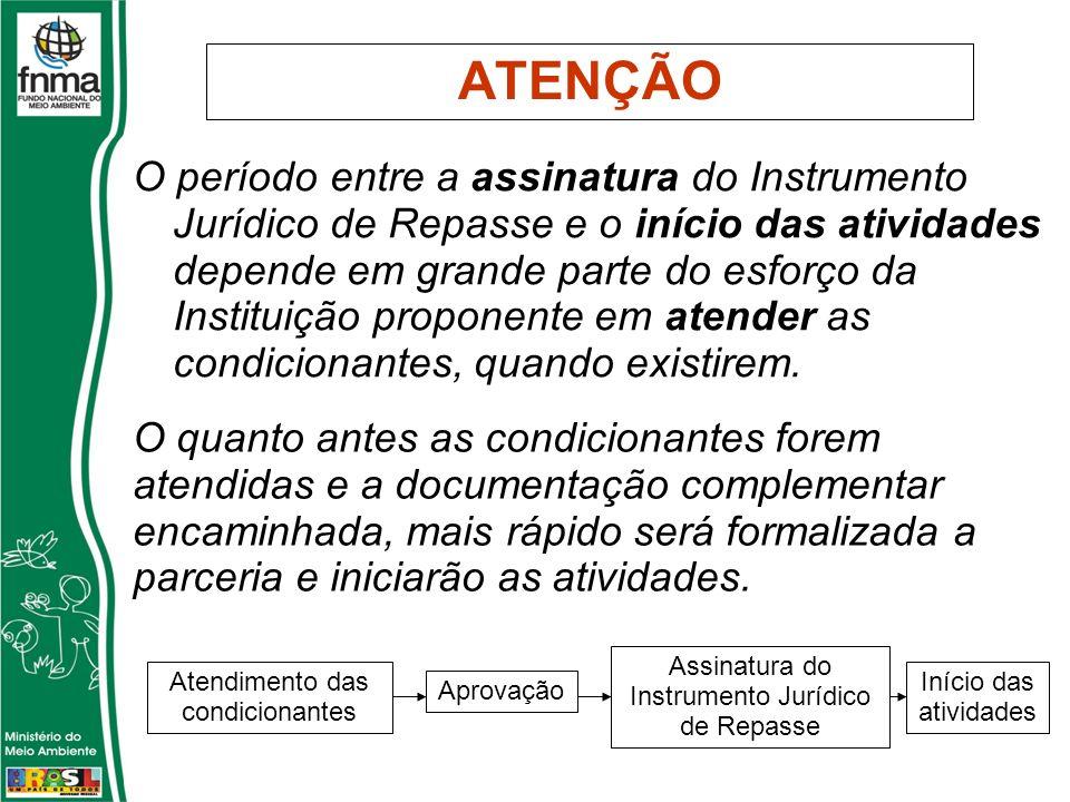 ATENÇÃO O período entre a assinatura do Instrumento Jurídico de Repasse e o início das atividades depende em grande parte do esforço da Instituição proponente em atender as condicionantes, quando existirem.
