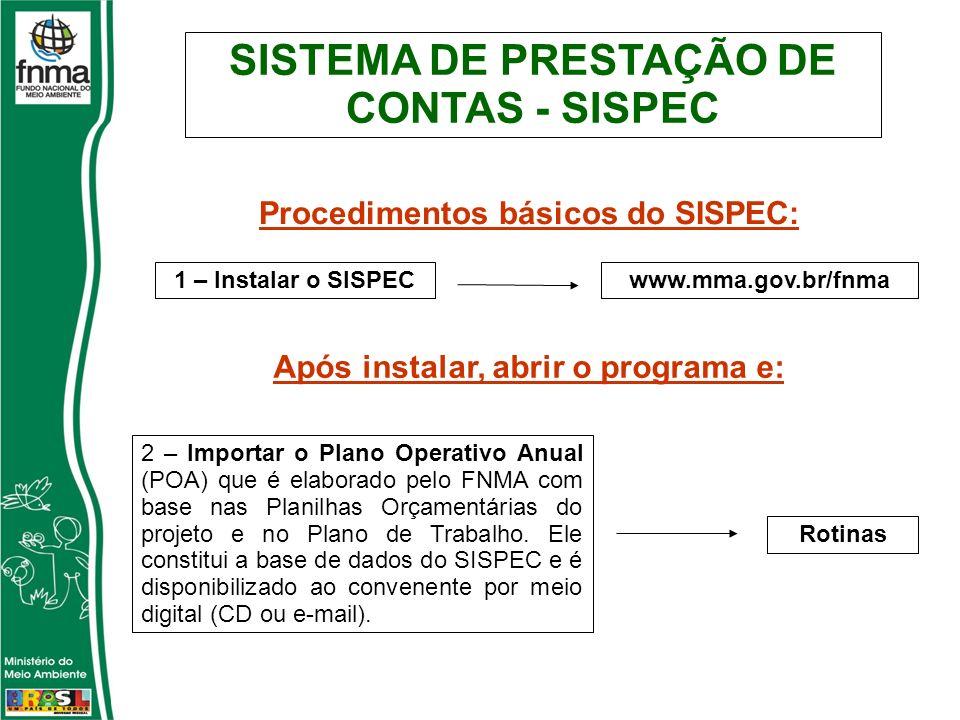 SISTEMA DE PRESTAÇÃO DE CONTAS - SISPEC Procedimentos básicos do SISPEC: 1 – Instalar o SISPECwww.mma.gov.br/fnma 2 – Importar o Plano Operativo Anual