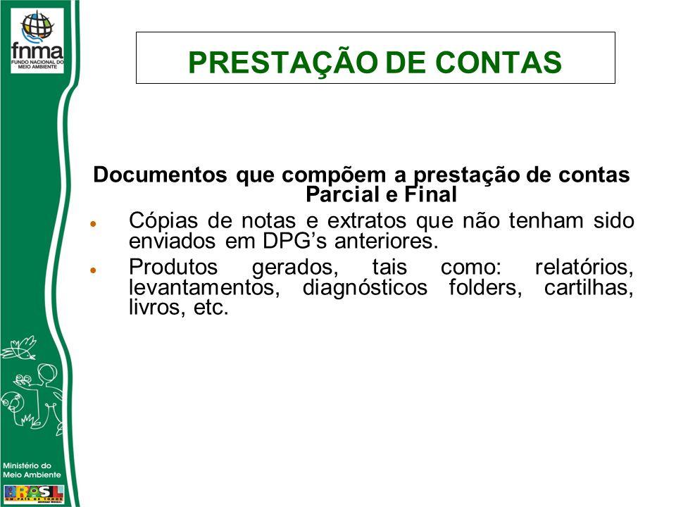 PRESTAÇÃO DE CONTAS Documentos que compõem a prestação de contas Parcial e Final Cópias de notas e extratos que não tenham sido enviados em DPGs anter