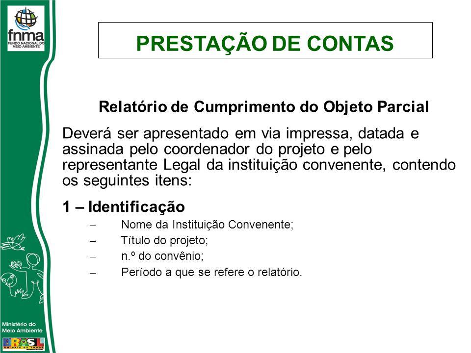 Relatório de Cumprimento do Objeto Parcial Deverá ser apresentado em via impressa, datada e assinada pelo coordenador do projeto e pelo representante