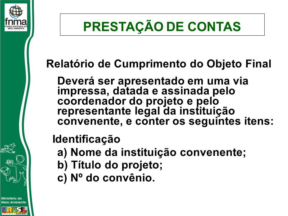 Relatório de Cumprimento do Objeto Final Deverá ser apresentado em uma via impressa, datada e assinada pelo coordenador do projeto e pelo representant