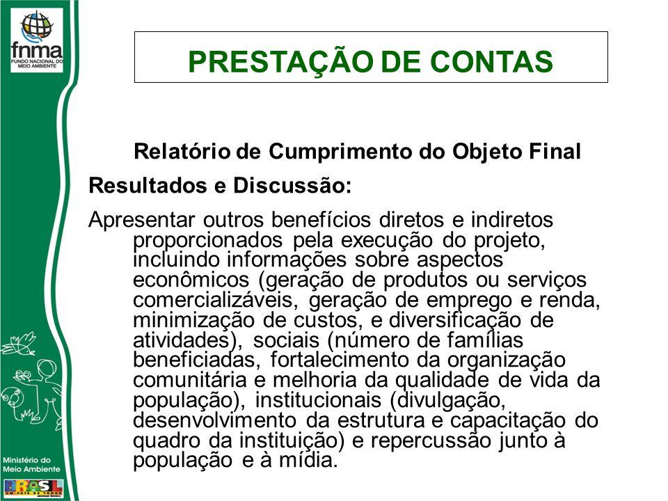 PRESTAÇÃO DE CONTAS Relatório de Cumprimento do Objeto Final Resultados e Discussão: Apresentar outros benefícios diretos e indiretos proporcionados p