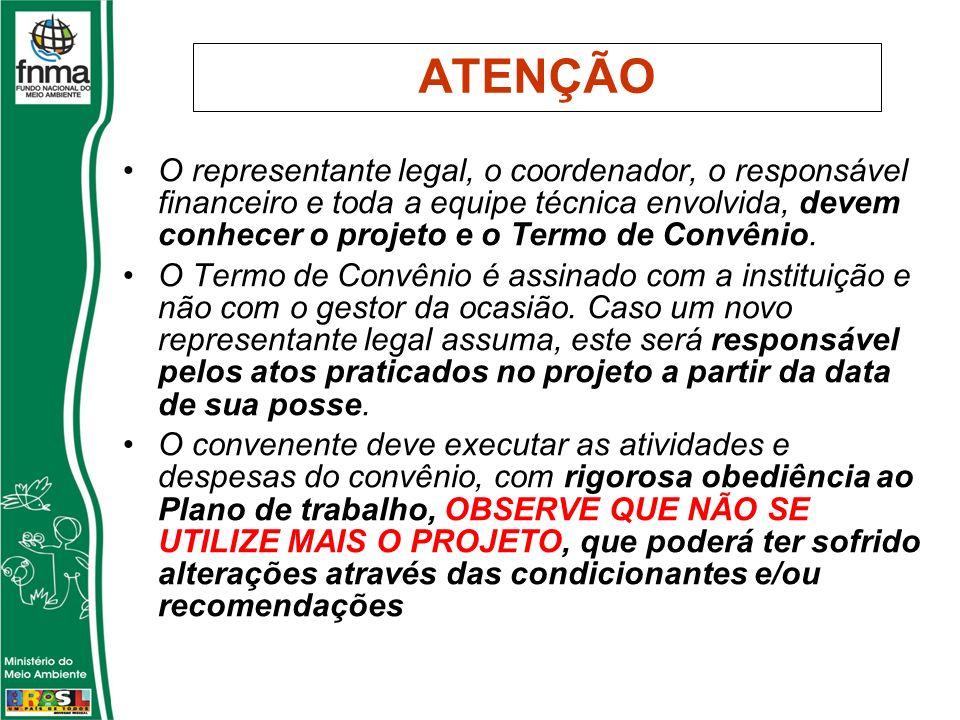 ATENÇÃO O representante legal, o coordenador, o responsável financeiro e toda a equipe técnica envolvida, devem conhecer o projeto e o Termo de Convênio.