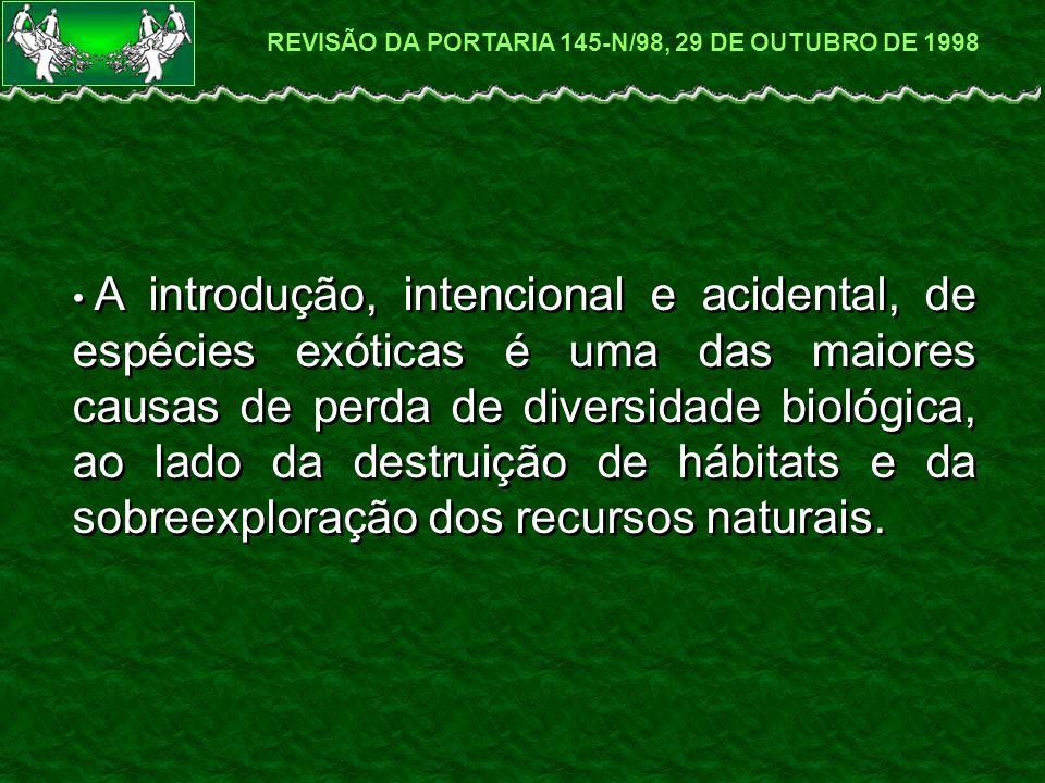 A introdução, intencional e acidental, de espécies exóticas é uma das maiores causas de perda de diversidade biológica, ao lado da destruição de hábitats e da sobreexploração dos recursos naturais.