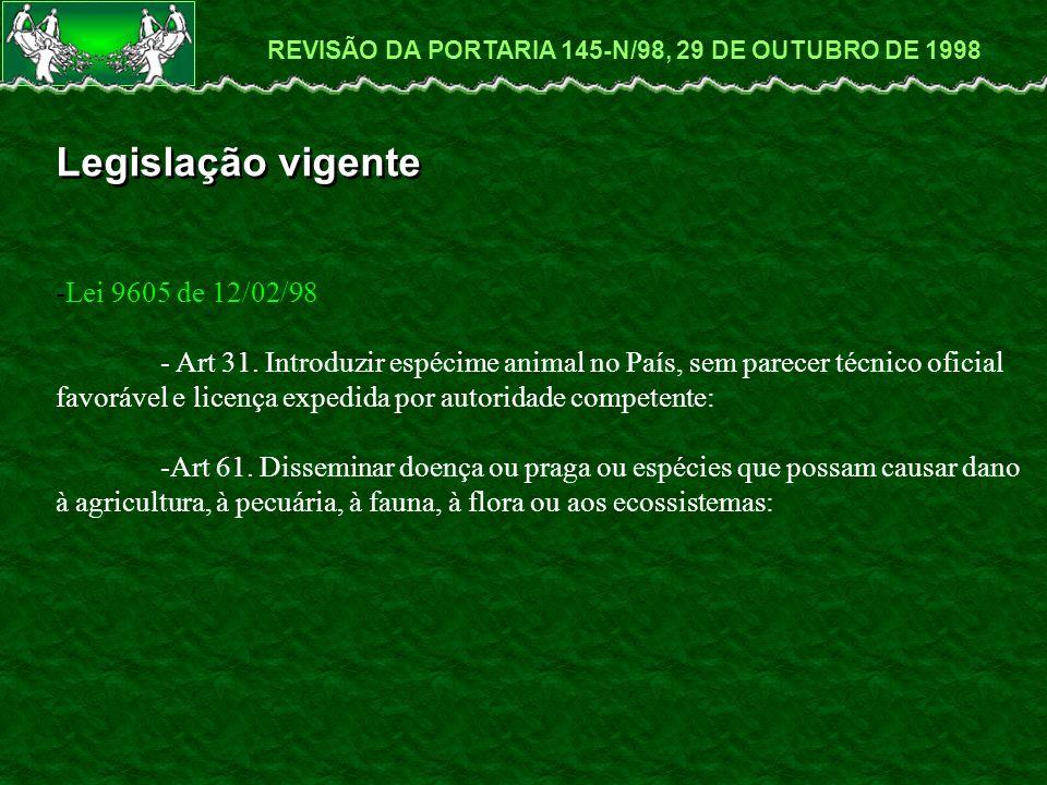 Legislação vigente -Lei 9605 de 12/02/98 - Art 31.