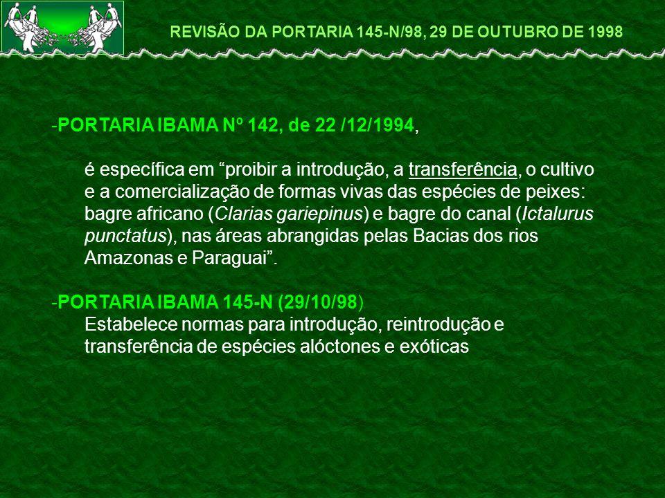 DIFAP CGREP COOPE Revisão da Portaria 145-N, de 29 de outubro de 1998 ( HISTÓRICO DE REVISÃO – ANO 2004 ) LOCAL¹ CIDADE DATA INSTITUIÇÕES²N° DEREPRESENTANTES RESULTADOS DAS REUNIÕES REGIONAIS³ ESTADOEMPRESASPRESENTESNA REUNIÃO FINAL CEPENETamandaré - PE26 e 27/04/2004 SEAP/PR, DOL/UFRN, IBAMA, DNOCS-RN, FAEPE-PE, ACEAQ-CE,CHESF, ABCC27 Francisco Borges Moraes (CHESF)Proposta CEPENE CEPNORBelém-PA29 e 30/04/2004 IBAMA, SEAP/PR, SEBRAE/RR, SEMA/AP, PESCAP/AP, EMBRAPA, ACCA26 Rosália Furtado Cutrim Souza (UFRAM)Proposta CEPNOR CEPTAPirassununga-SP11 e 12/05/2004IBAMA, SEAP/PR34 Maria Beatriz Boschi (IBAMA)Proposta CEPTA CEPSULItanjaí - SC08 e 09/06/2004 IBAMA, BLUEFISH, CTTMAR/UNIVALI, SEAP/PR, MMA, UFSC, PREF.