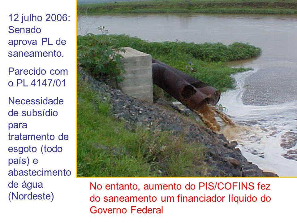 12 julho 2006: Senado aprova PL de saneamento. Parecido com o PL 4147/01 Necessidade de subsídio para tratamento de esgoto (todo país) e abastecimento