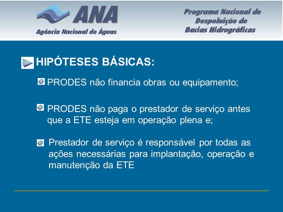 HIPÓTESES BÁSICAS: PRODES não financia obras ou equipamento; PRODES não paga o prestador de serviço antes que a ETE esteja em operação plena e; Presta