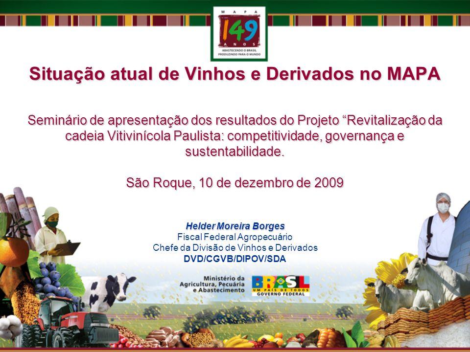 Situação atual de Vinhos e Derivados no MAPA Seminário de apresentação dos resultados do Projeto Revitalização da cadeia Vitivinícola Paulista: compet