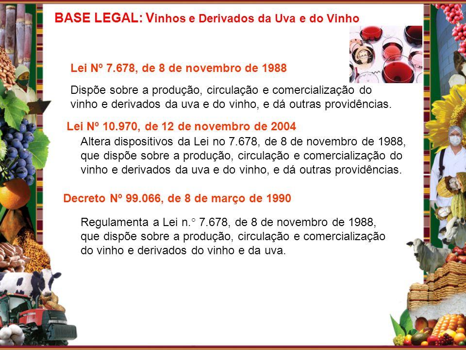 Lei Nº 10.970, de 12 de novembro de 2004 Altera dispositivos da Lei no 7.678, de 8 de novembro de 1988, que dispõe sobre a produção, circulação e come