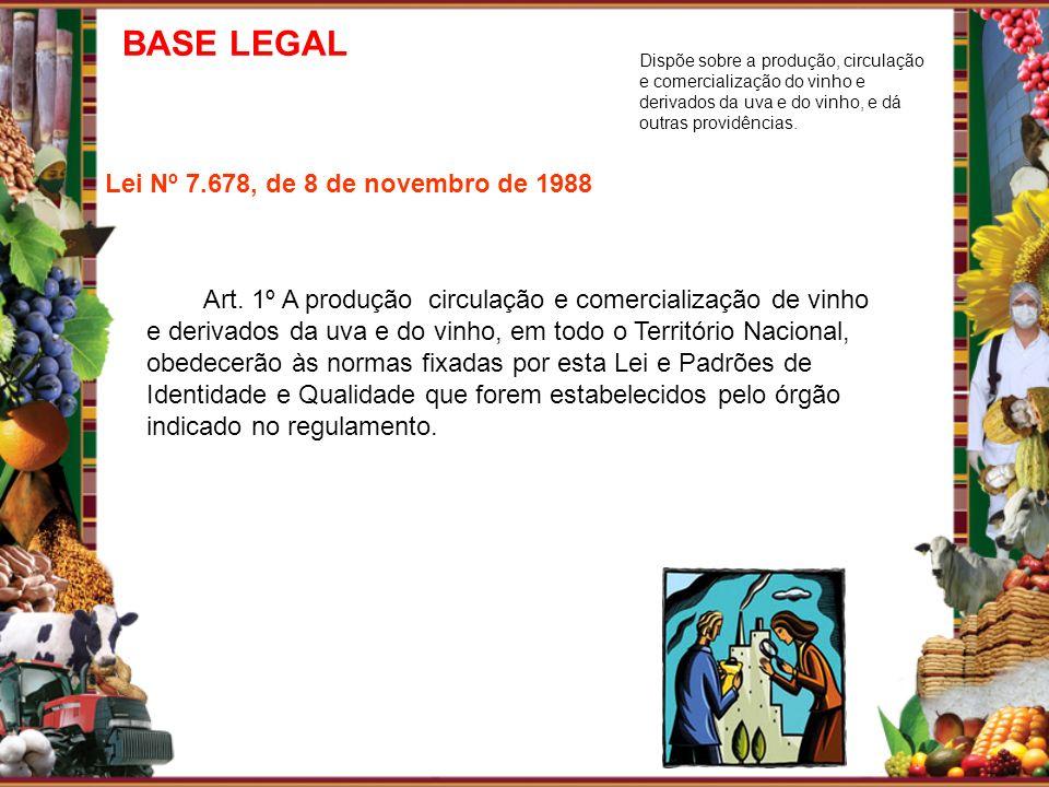 Lei Nº 7.678, de 8 de novembro de 1988 Art. 1º A produção circulação e comercialização de vinho e derivados da uva e do vinho, em todo o Território Na