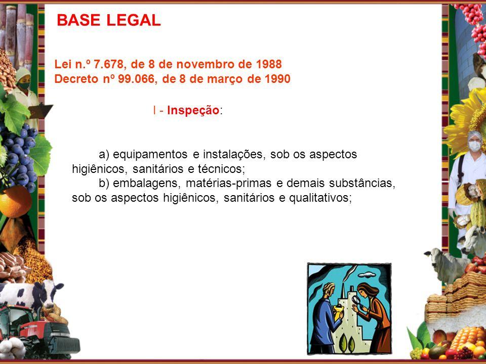 Lei n.º 7.678, de 8 de novembro de 1988 Decreto nº 99.066, de 8 de março de 1990 I - Inspeção: a) equipamentos e instalações, sob os aspectos higiênic