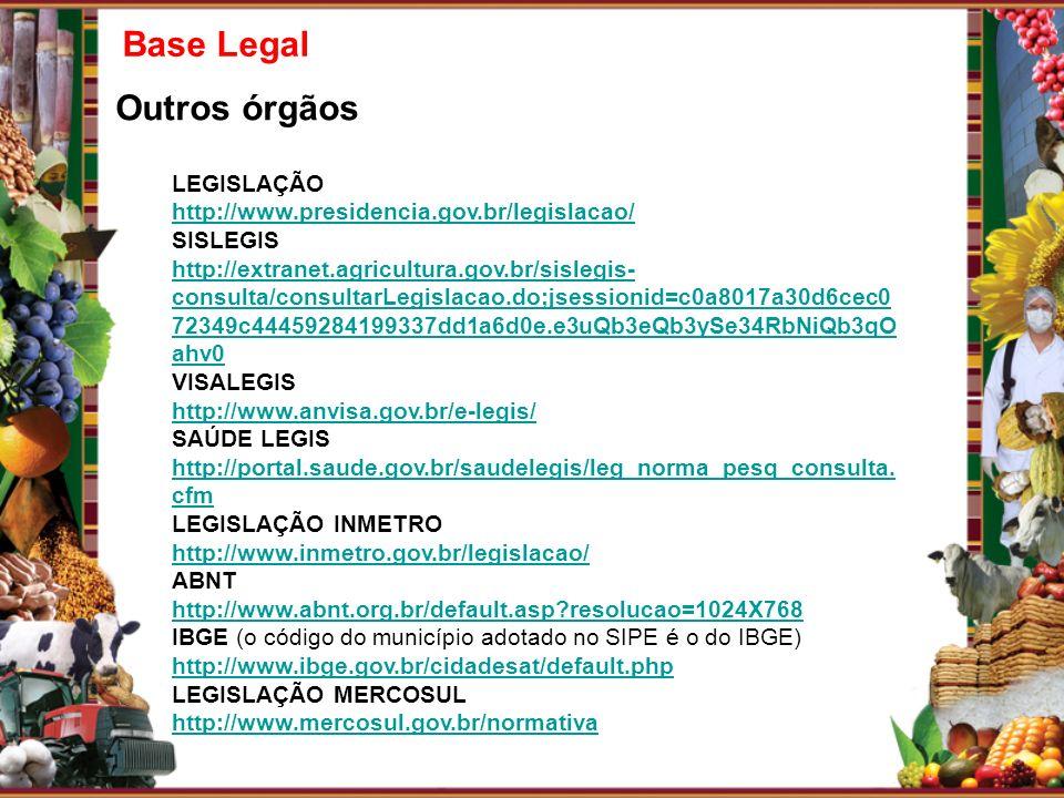 Base Legal Outros órgãos LEGISLAÇÃO http://www.presidencia.gov.br/legislacao/ SISLEGIS http://extranet.agricultura.gov.br/sislegis- consulta/consultar