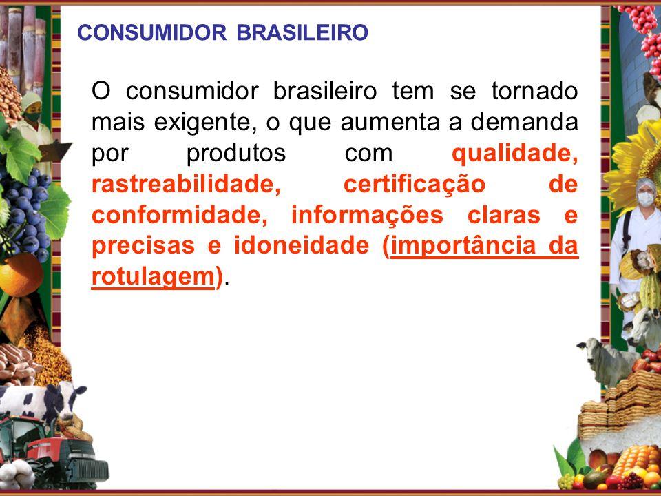 CONSUMIDOR BRASILEIRO O consumidor brasileiro tem se tornado mais exigente, o que aumenta a demanda por produtos com qualidade, rastreabilidade, certi